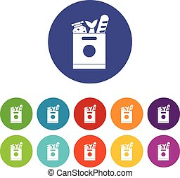 Grocery bag with food set icons in different colors isolated...