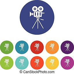 Camcorder set icons in different colors isolated on white...