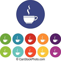Glass cup of tea set icons in different colors isolated on...