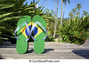 Brazilian flipflop on the beach in Brazil