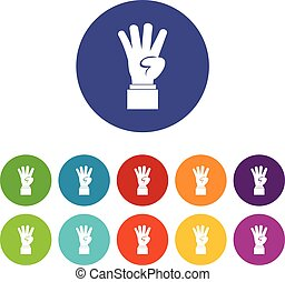 Hand showing number four set icons in different colors...