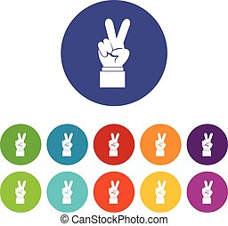 Hand with victory sign set icons in different colors...