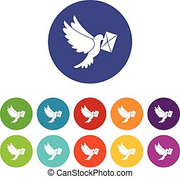 Dove carrying envelope set icons in different colors...