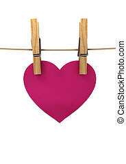 pink heart hanging on a string pinned clothespins, a concert...
