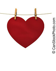 red heart hanging on a string pinned clothespins, a concert...