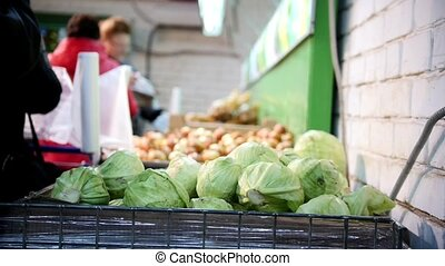 Cabbage in grocery vegetable Department of supermarket,...