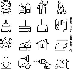Cleaning , Housekeeping , Hygiene icon set