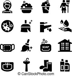 housekeeper & Cleaning icons set