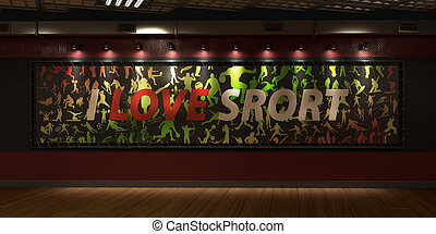 a large billboard with the inscription I love the sport against the backdrop of a red wall indoors