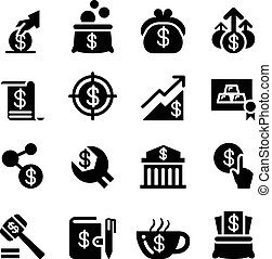 Saving money icon set