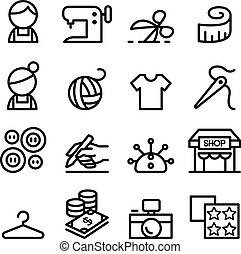 Fashion design , tailor , Dressmaker , sewing icons set in...