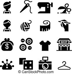Sewing , fashion , Tailor , Clothing , Dressmaker icon set...