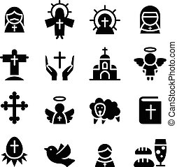 Thanksgiving , Easter, Christmas icon set