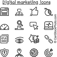 Digital marketing & SEO icon set in thin line style