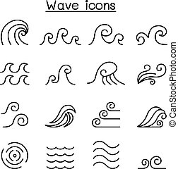 Abstract Wave icon set in thin line style
