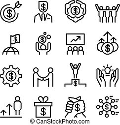 Business success icon set in thin line style