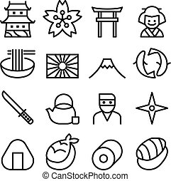 Basic Japan icon & Symbol in thin line style