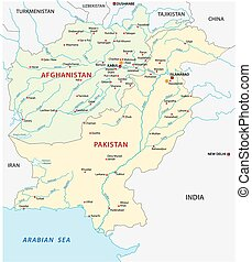 pakistan-afghanistan map - pakistan-afghanistan vector map