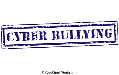 CYBER BULLYING blue Stamp Text on white backgroud