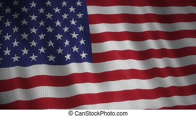 Knitted United States Flag. - Beautiful animation of knitted...