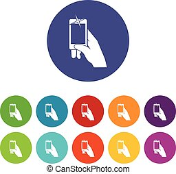 Hand taking pictures on cell phone set icons