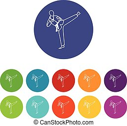 Wushu master set icons in different colors isolated on white...