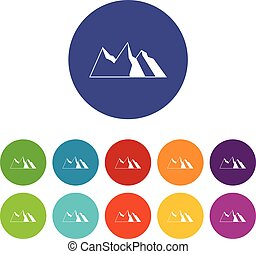 Mountains set icons