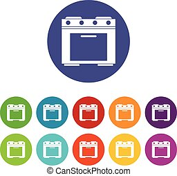 Gas stove set icons in different colors isolated on white...