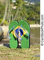 Brazilian flipflop on the beach in Brazil