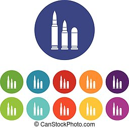 Bullets set icons in different colors isolated on white...