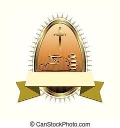 Easter egg in gold color