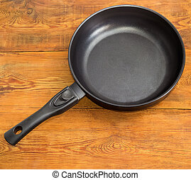 Frying pan with ceramic non-stick coating on wooden surface...