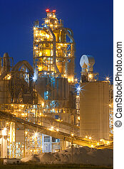 Factory Chemical Plant At Night - Night panorama image of...