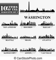 Silhouettes Cities of USA Set 2 in grayscale