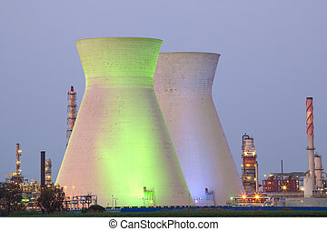 Nuclear power station ander blue sky - A coal power station...