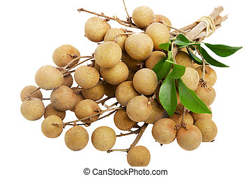 Longan - A bunch of stems longan isolated on the white...