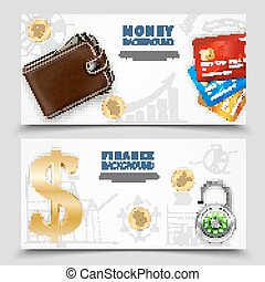 Realistic Money Horizontal Banners