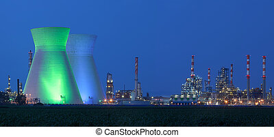Nuclear power station under blue sky - Panorama of power...