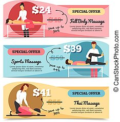 Massage And Health Care Banners - Flat design horizontal...