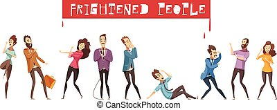 Fear Person Icon Set - Colored and isolated fear person icon...