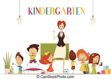 Kindergarden Teacher With Kids Cartoon Illustration -...