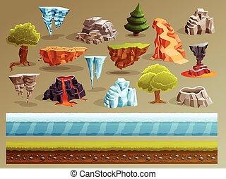 Gaming Landscape Constructor Set - Game cartoon elements set...