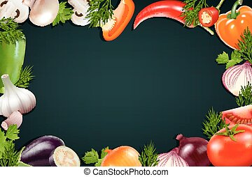 Black Background With Colorful Vegetables Frame - Black...