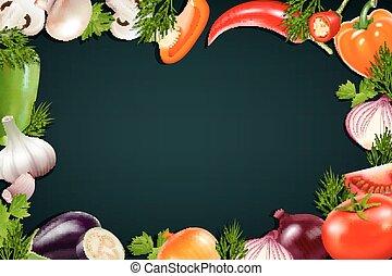 Black Background With Colorful Vegetables Frame - Black...