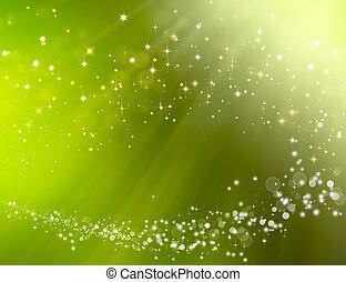 bokeh, 綠色, 幻想, 背景, 喜慶