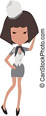 Stewardess - Cartoon flight attendant with half long brown...