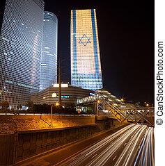 Tel Aviv at night - The modern buildimg in Tel Aviv at...