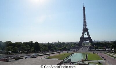 FRANCE, PARIS: Famous Eiffel Tower in sunshine day, time-lapse