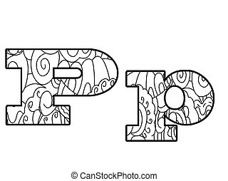 Anti coloring book alphabet, the letter P vector...