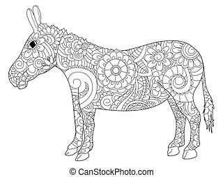 Donkey coloring vector for adults - Donkey coloring book for...